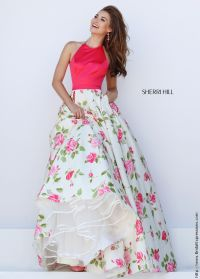 Sherri Hill 50231 Coral and Ivory Floral Print Halter Prom ...