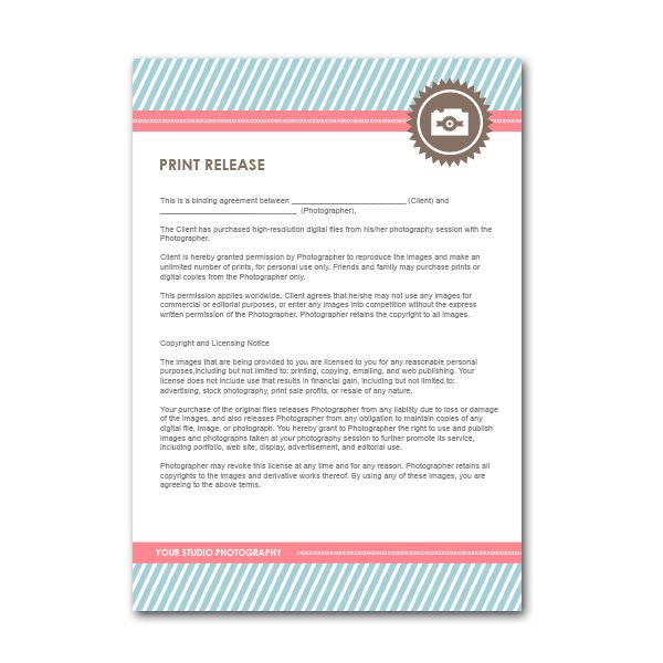 Print Release Form Printable Sample Wedding Photography Contract