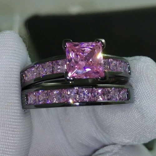 ebay wedding ring sets Sz 5 10 Princess Cut Pink sapphire 10kt black Gold Filled Wedding Ring set gift
