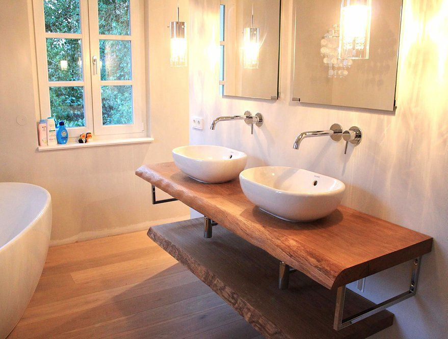 Konsole Waschtisch Waschtischplatte massiv Eiche rustikal auf Maß - badezimmer konsole