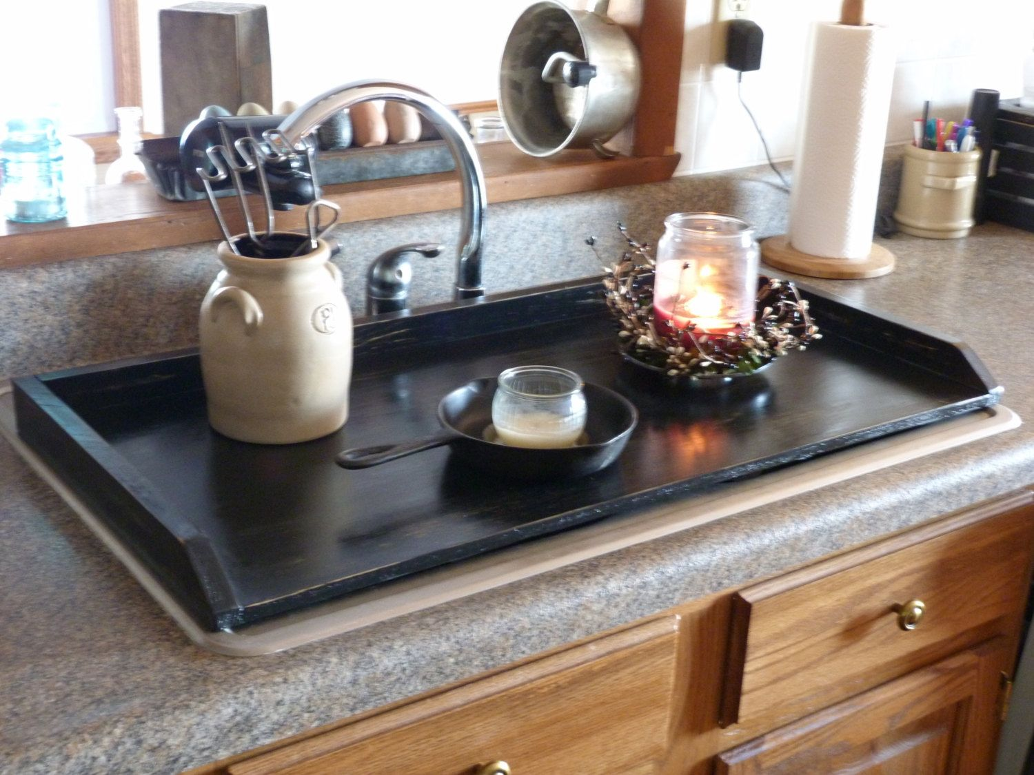 Kitchen Sink Cabinet Tray Primitive Kitchen Tray Black Sink Cover By