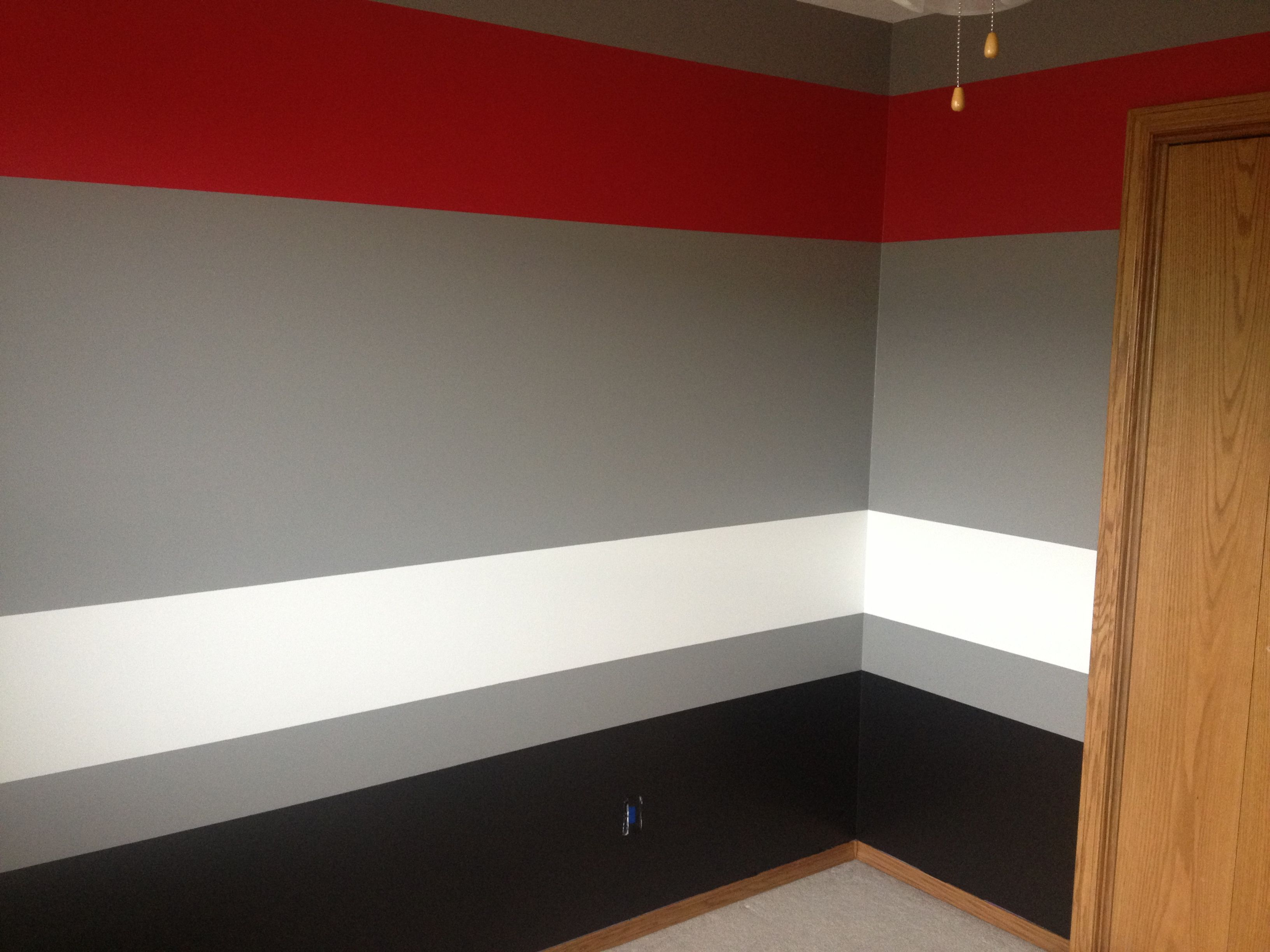 Red Black And Grey Bedrooms Painted Room Grey Red White Black Rooms Pinterest