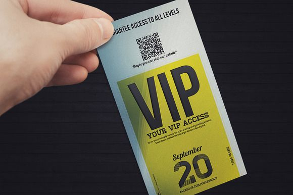 Elegant event vip pass card by Tzochko on Creative Market VIP - event card template