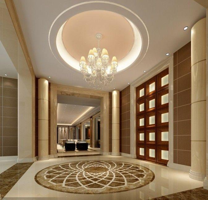 Luxury Mansion Interior Entrance With Medallion Symbol On