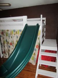 kids bed ideas Camp Loft Bed with Stairs, Slide and Fort ...