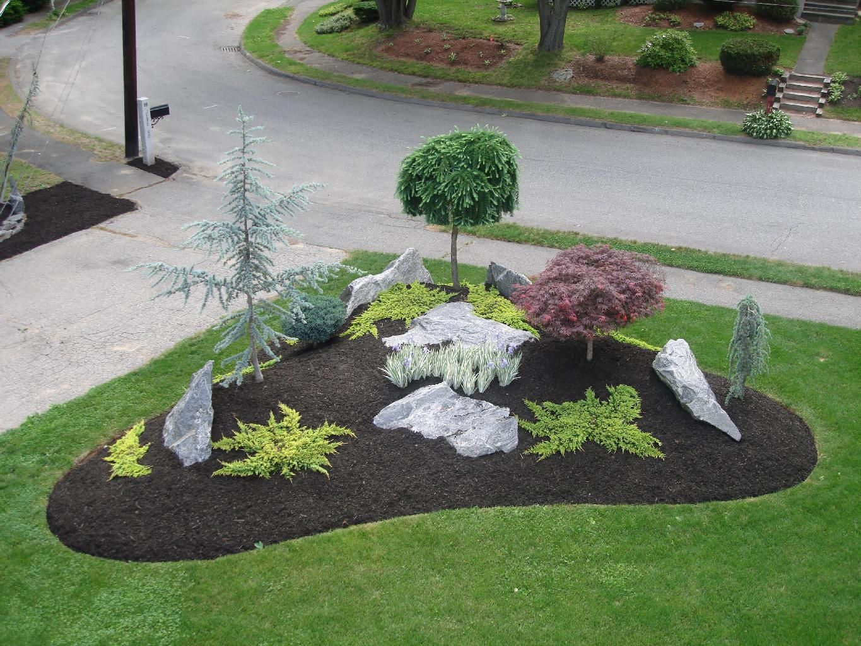 simple landscape designs with rock beds