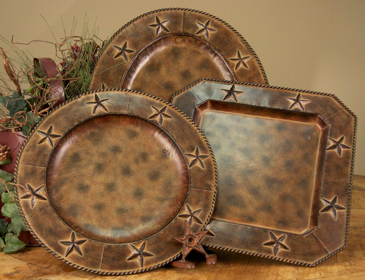 Rustic Flatware Patterns 4 Pc 16 5 Quot Oval Rustic Barn Star Western Charger Plates