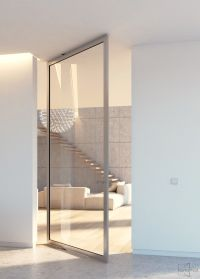 Modern glass pivot door with offset axis pivoting hinges ...