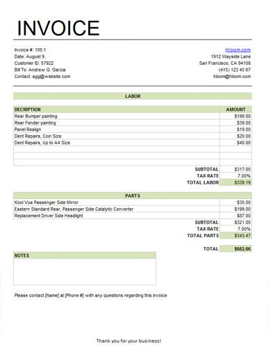 Labor and Parts Service Invoice Template with an area for Notes - sample service invoice