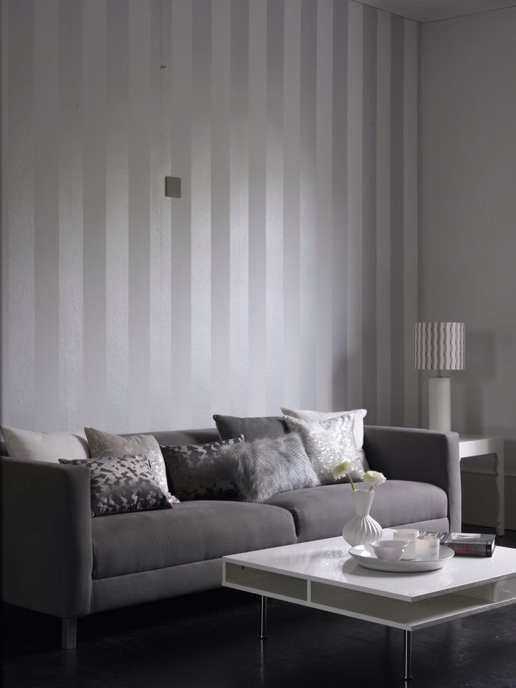 Cheap 3d Wallpaper Uk Metallic Grey And White Stripe Wallpaper Design From The