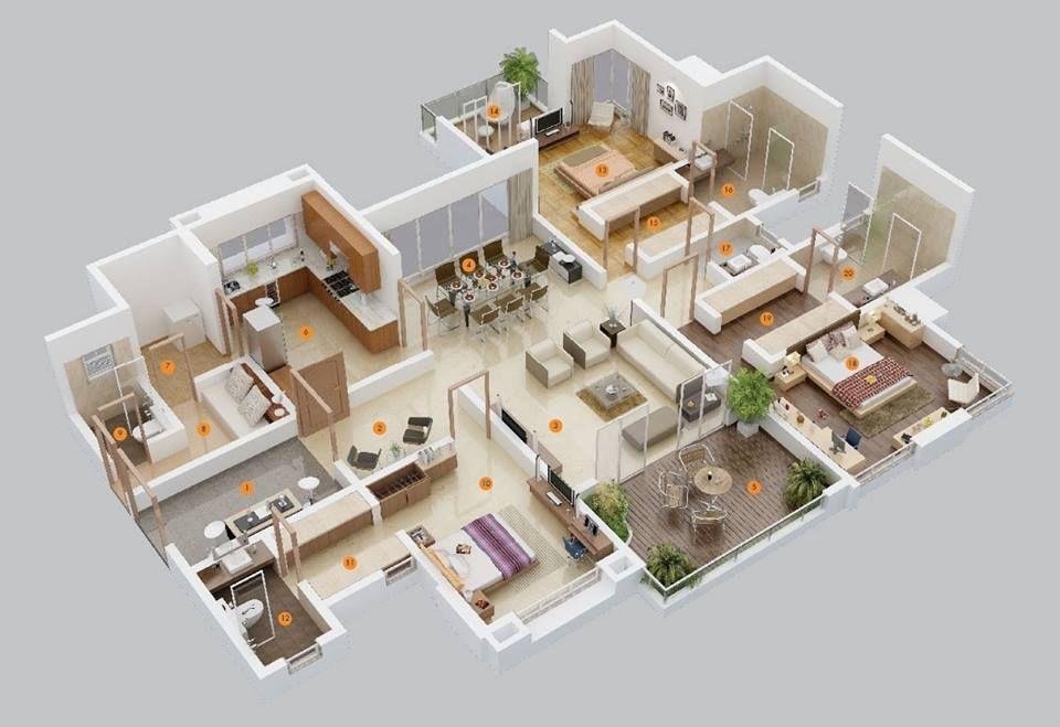 3 Bedroom Apartment\/House Plans 3D Floor Plans Pinterest - 3d house plans
