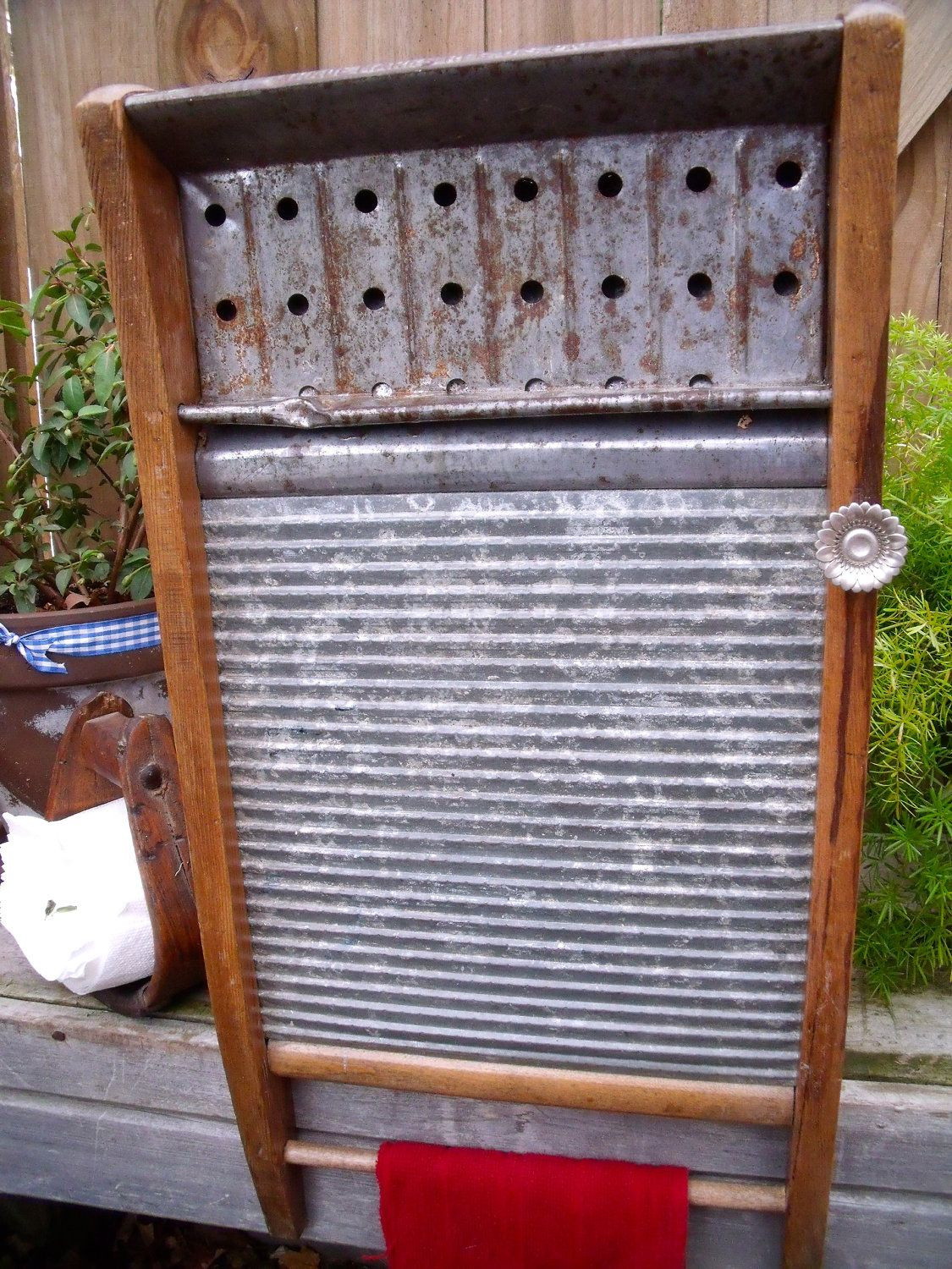 Decorative Laundry Items Antique Primitive All Metal Our Best Washboard By