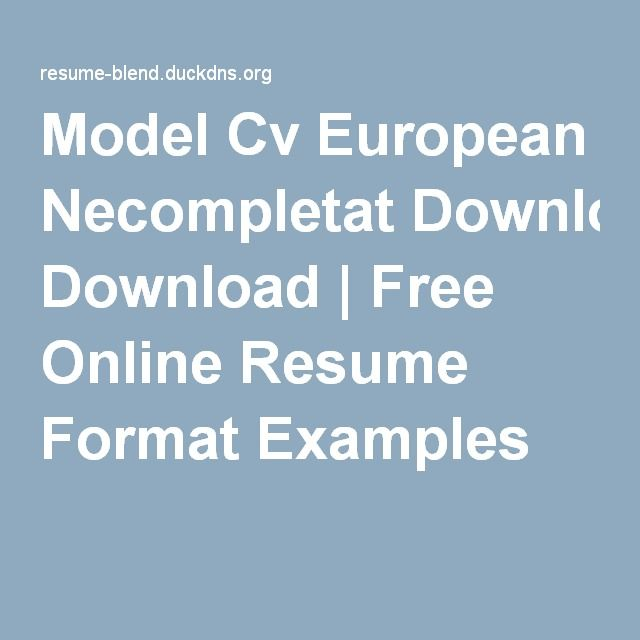 model cv europass necompletat download