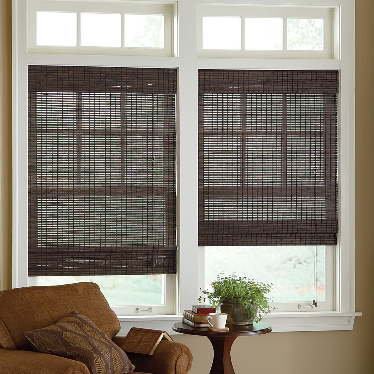 Where To Buy Roman Shades Dark Bamboo Blinds Kitchen And Family Room I Like Windows
