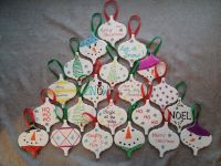 Christmas Ornaments - Ceramic tiles from Lowe's, Sharpie ...
