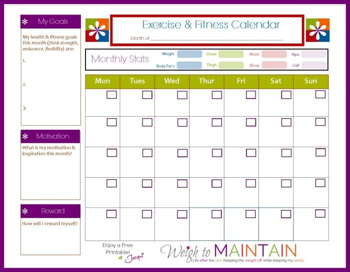 How To Actually Achieve Your Fitness Goals Workout planner - sample workout calendar