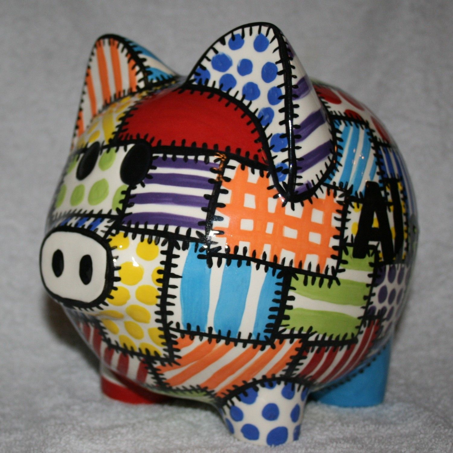 Piggy Bank Idea Piggy Bank Quilted Colors 50 00 Via Etsy Here Piggie