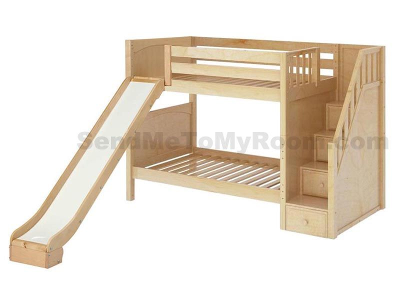 Stellar Medium Bunk Bed With Slide And Staircase Bunk