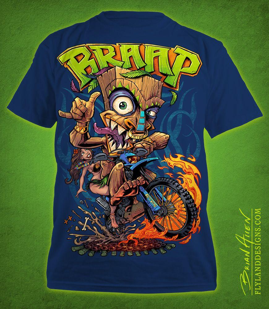 Design t shirt illustrator - Design T Shirt Illustrator Tiki Man Motocross Rider T Shirt Illustration Download