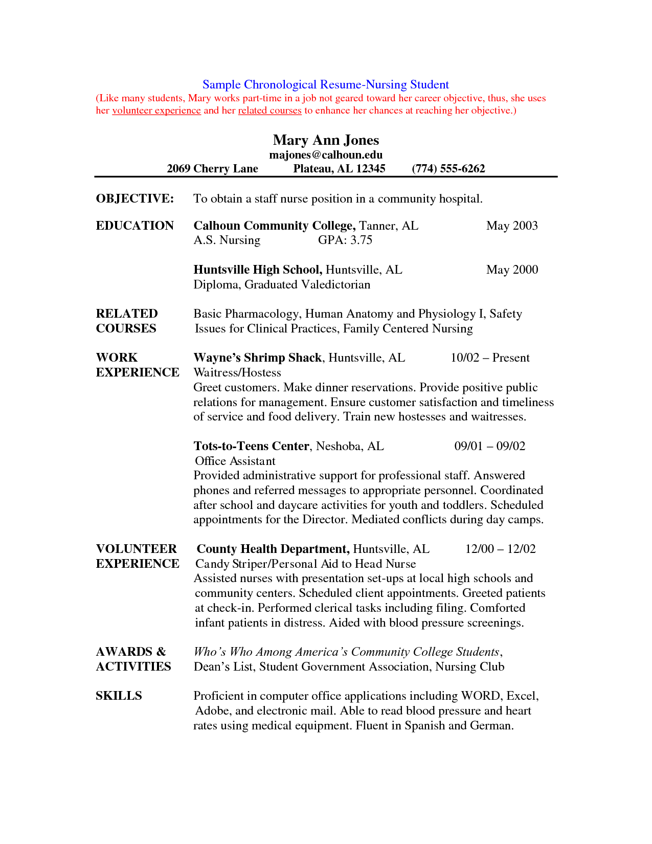 college application resume volunteer experience example