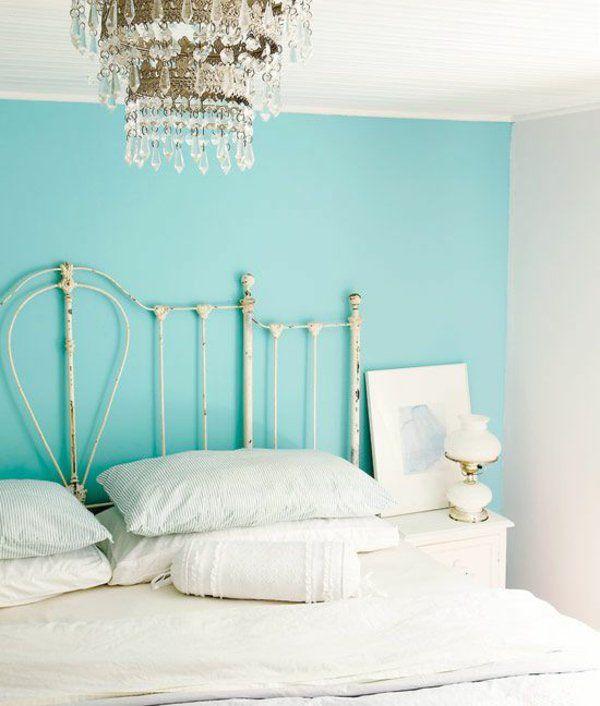 Wandfarbe kronleuchter Türkis wandgestaltung kopfteil schlafzimmer - schlafzimmer in turkis