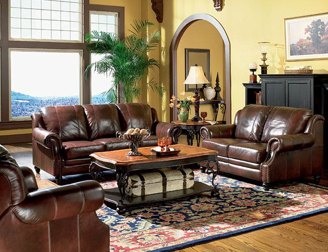 another color idea for a living room with dark brown leather - brown leather couch living room
