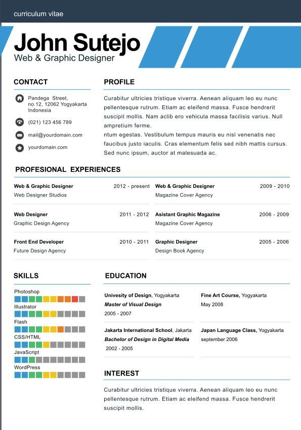 elegante one page Elegant one page resume template Tailor Made - example of one page resume