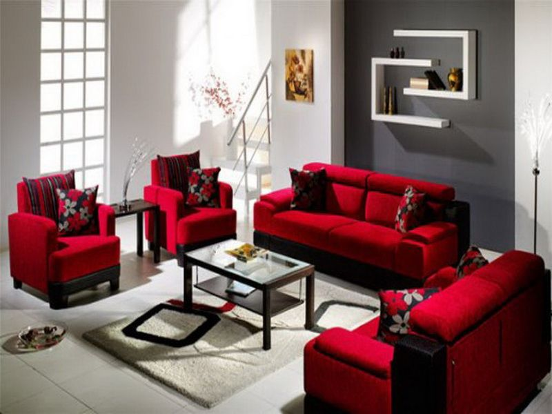 Image result for Room colors red black beige and green studio - red living room chair