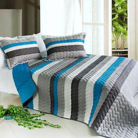 Blue Grey Striped Teen Boy Bedding Black White Stripe