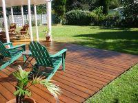 Here's a gorgeous backyard ground level deck.   landscape ...