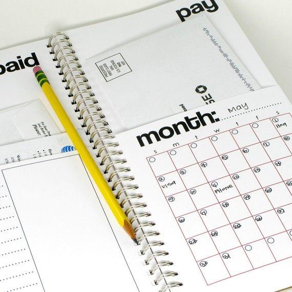 Bill Calendar -- note book with pockets for bills - new bill put - bill calendar