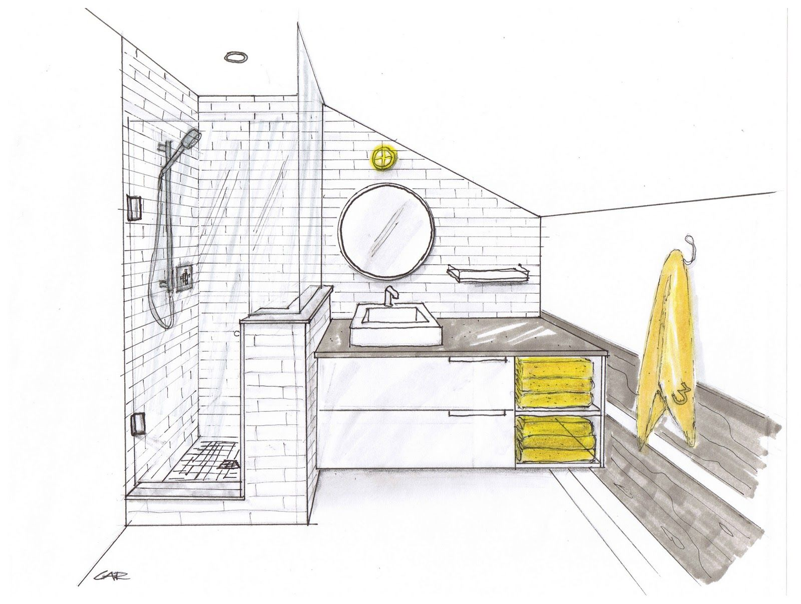 Bathroom one point perspective google search