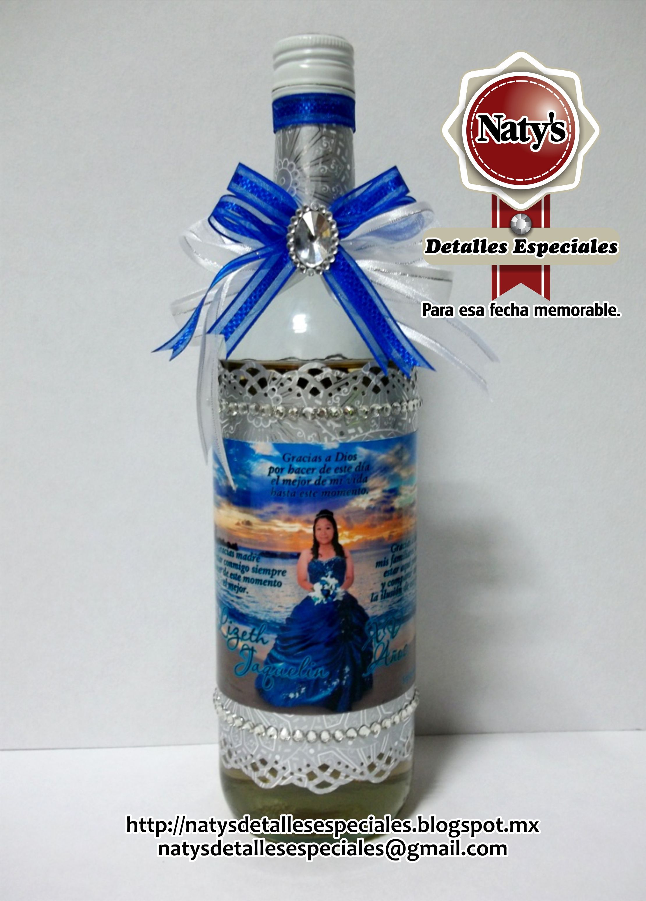 Botellas Decoradas Para 15 Botella Personalizada Xv Años Boda 15 Años Party