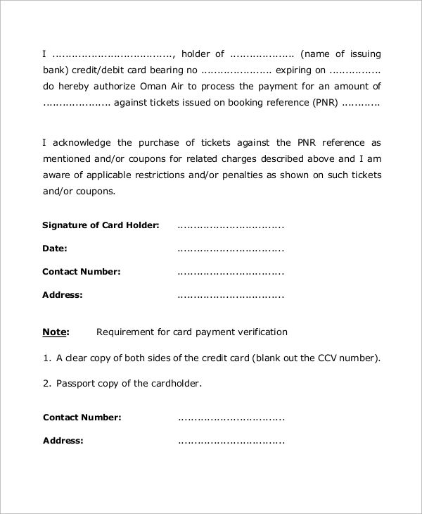 sample authorization letter from credit debit cardholder - authorization letters sample
