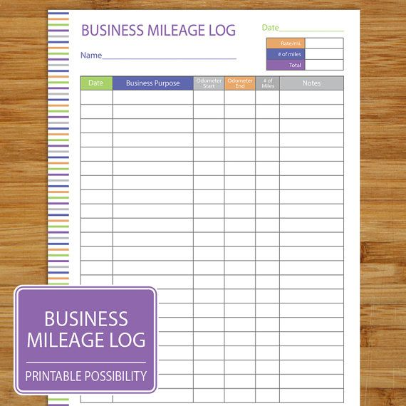 business mileage log form