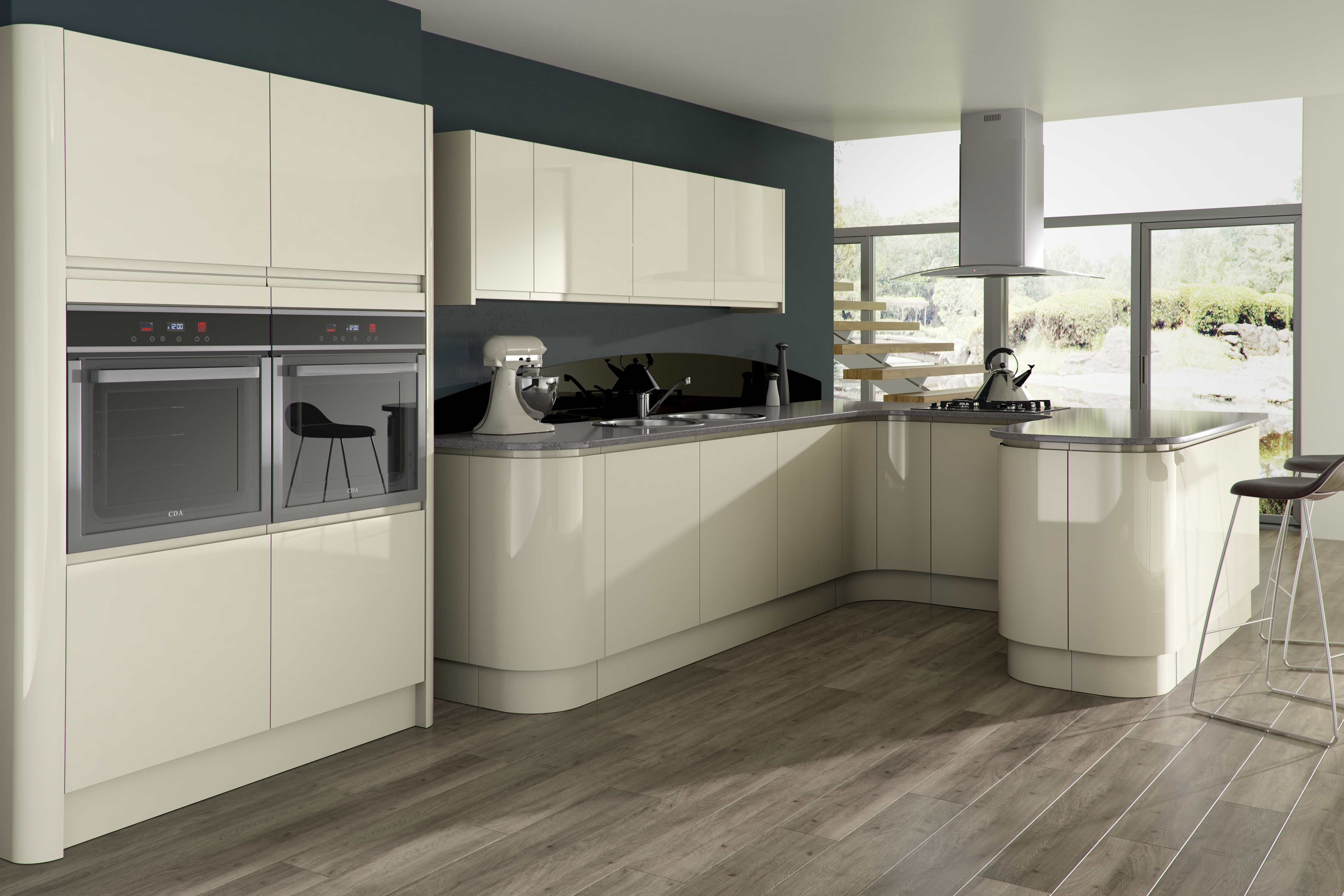 Unit Kitchens Opal Gloss Stone Kitchen Units For Modern Kitchen With The