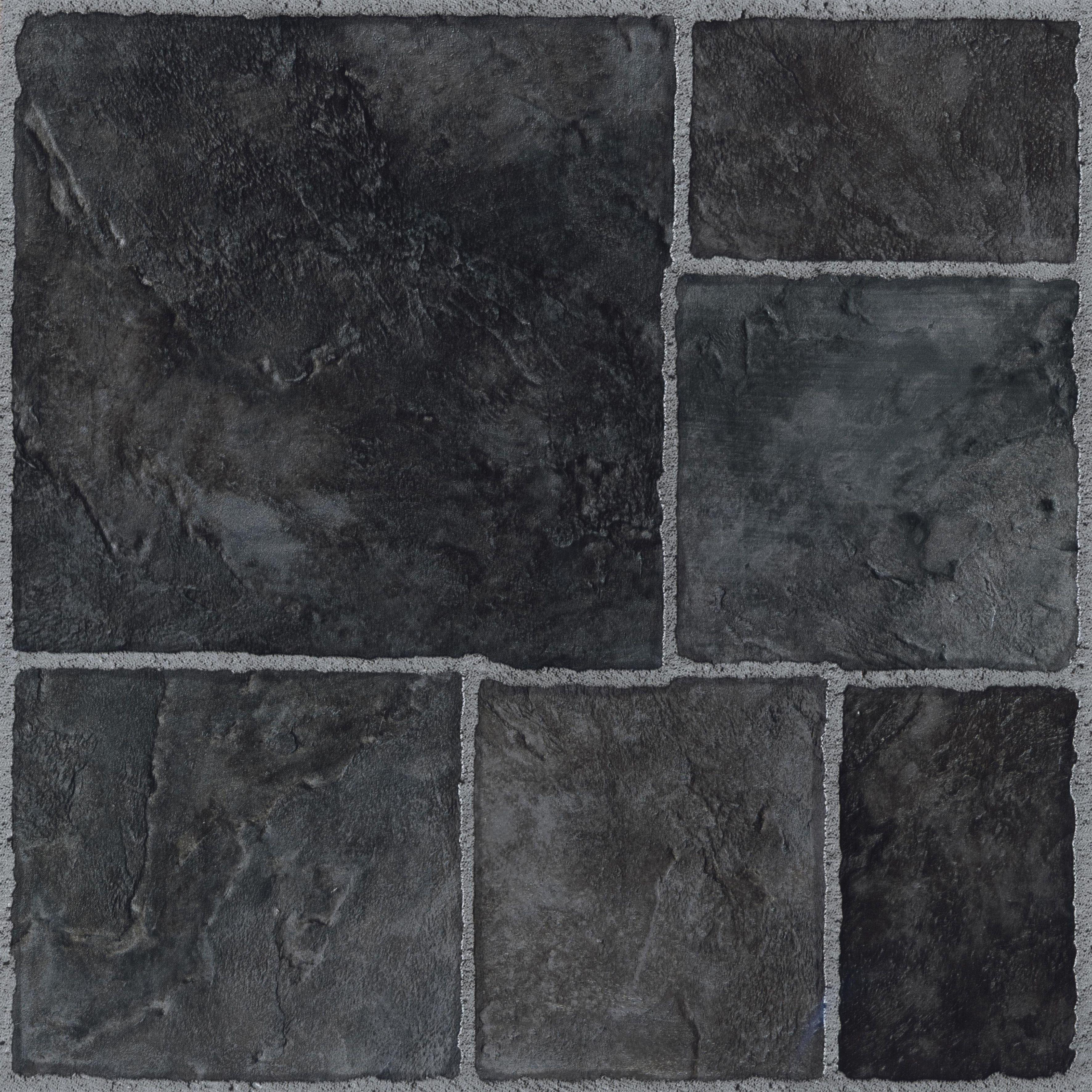 Colours Black Stone Effect Self Adhesive Vinyl Tile 102