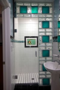 www.california glass tile | Glass block shower wall using ...