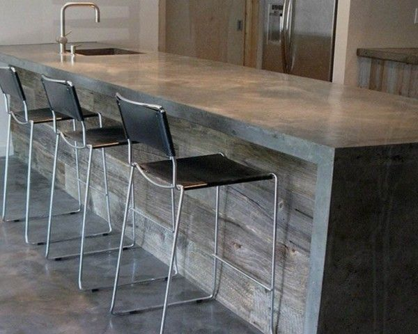 Kitchen Cabinets Kingston Ny Concrete Countertops/reclaimed Wood Bar....too Modern For