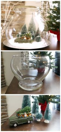 Create this easy vintage Christmas scene under glass with ...