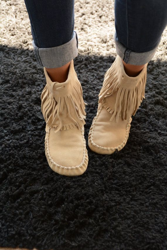 Tan Fringe Moccasins By Westendfox On Etsy Boho