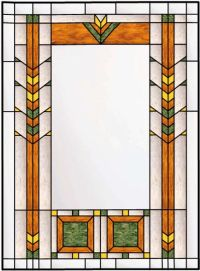Vertical Stained Glass window With Inner Border and ...