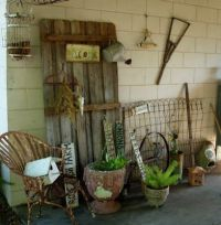 old barn door used for outside decoration, hanging ...