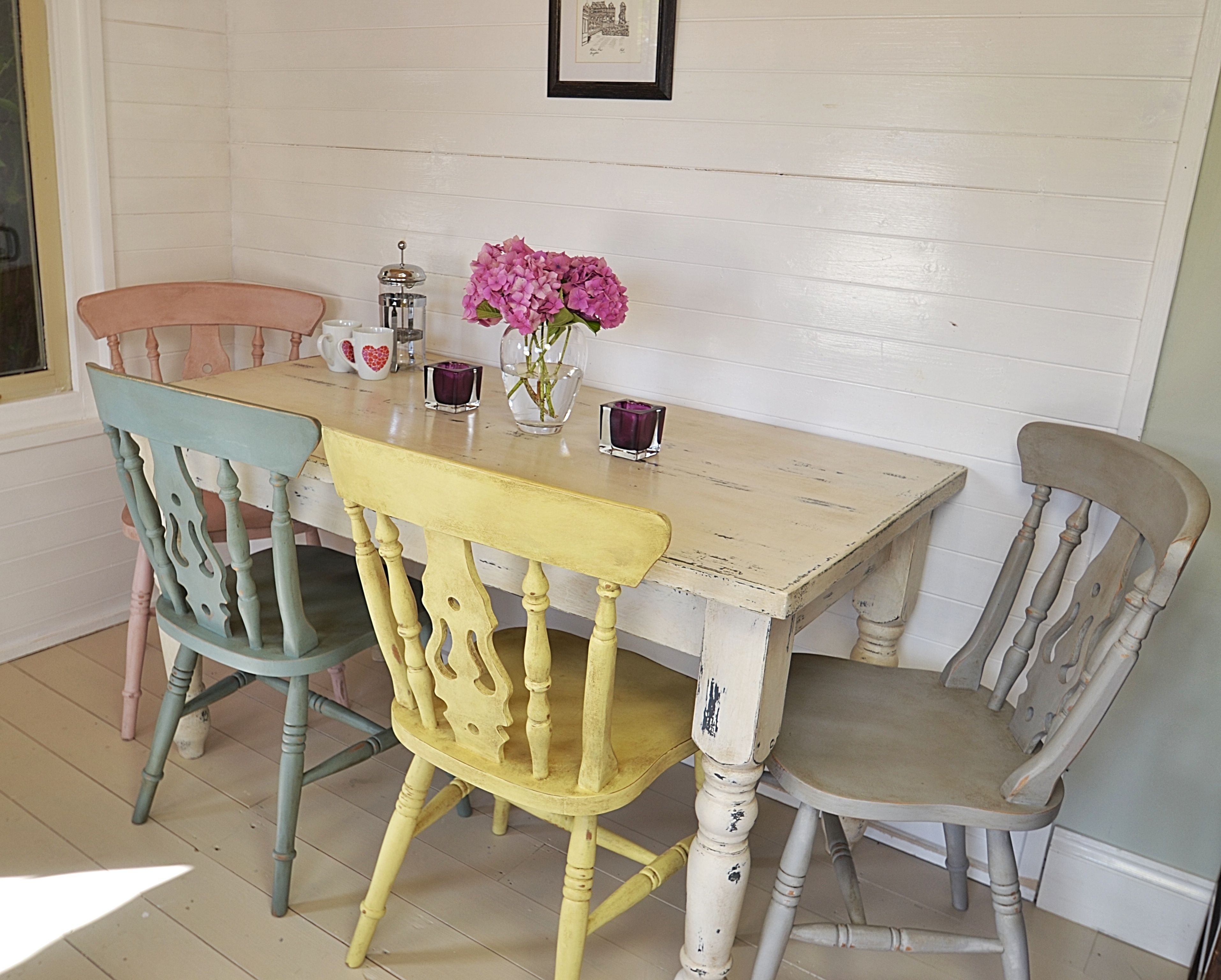 grey kitchen chairs CasaGiardino This fabulous dining set has four pastel chairs painted in Duck Egg