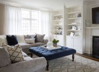 Navy Tufted Ottoman, Transitional, living room, Flax ...