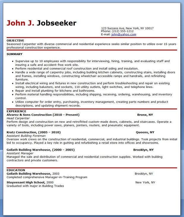 Free Carpenter Resume Templates Creative Resume Design Templates - carpenter resume example