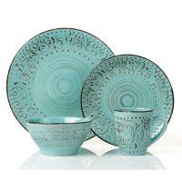 Lorren Home Trends Blue/Green Stoneware 16-piece Round ...