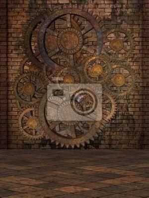 3d Wallpaper For Master Bedroom Steampunk Background Wall Mural Vinyl Pixers 174 We
