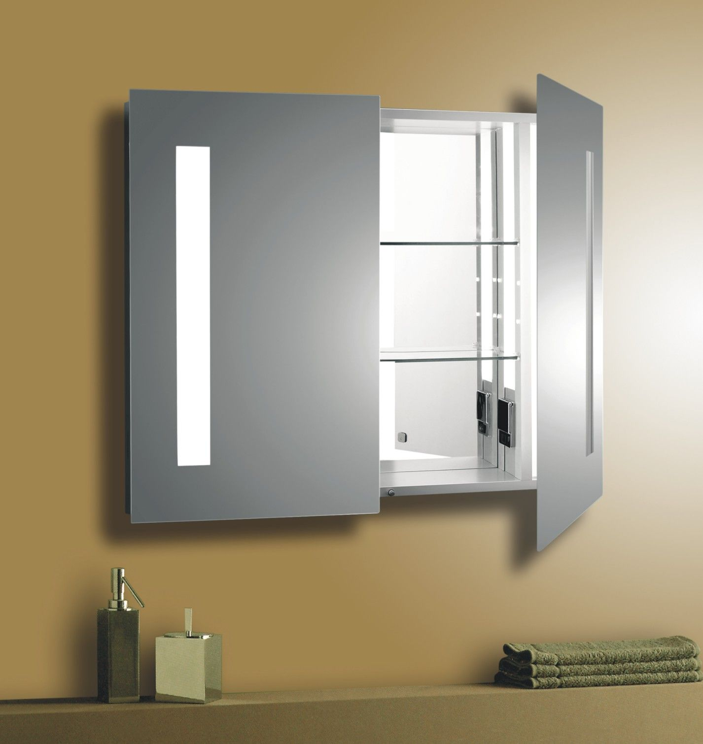 Cool Oak Medicine Cabinet With Mirror And Lights and