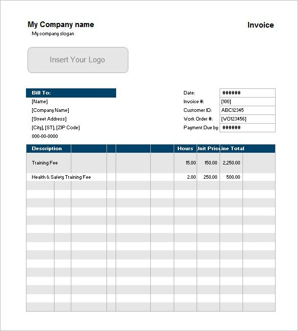 Example of Service Invoice with Customer List Excel , Invoice - it services invoice template
